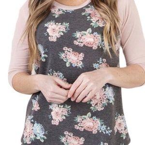 Tops - Women's floral quarter sleeve shirt